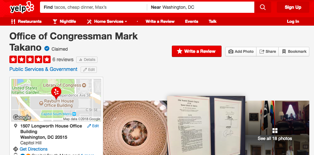 Looking to Learn About Rep. Mark Takano? Check Out Yelp or Tumblr