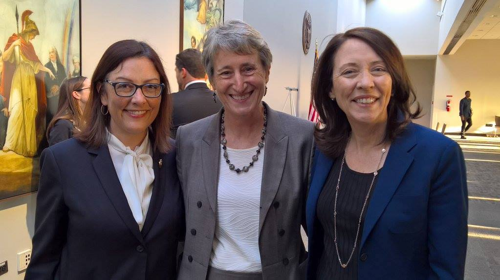 Rep. Suzan DelBene and Sen. Maria Cantwell (shown at a previous event with then-Secretary of the Interior Sally Jewell) worked together to craft companion legislation to fund smart cities.