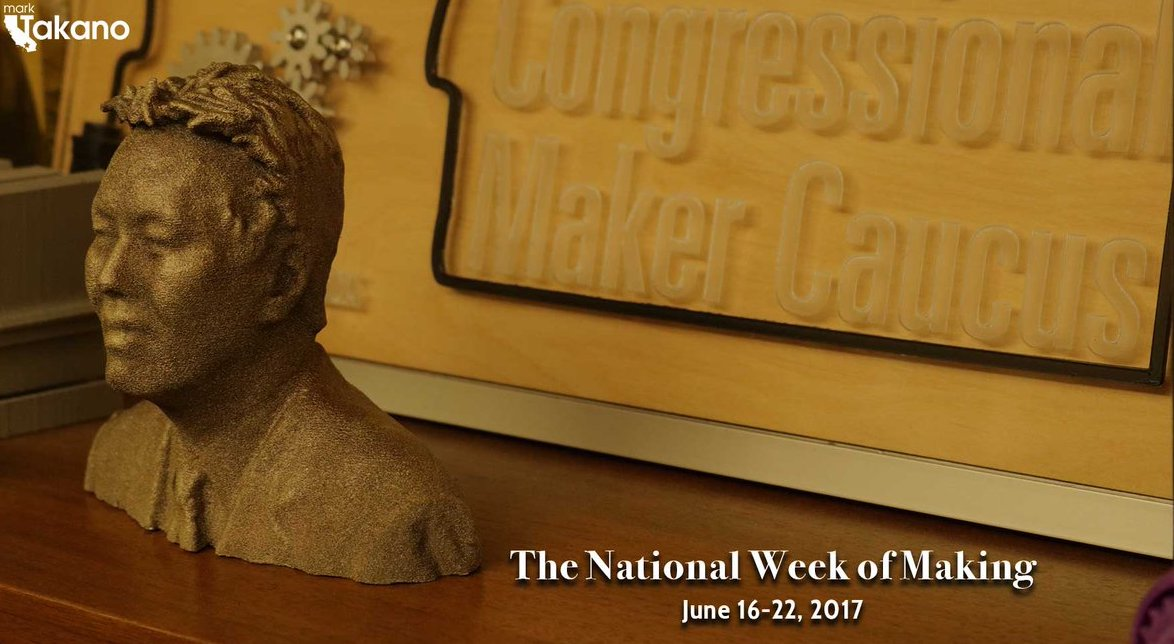 Representative Mark Takano of California is shown as a 3D printed bust made to celebrate the Congressional Maker Caucus and the Congressional Maker Faire.