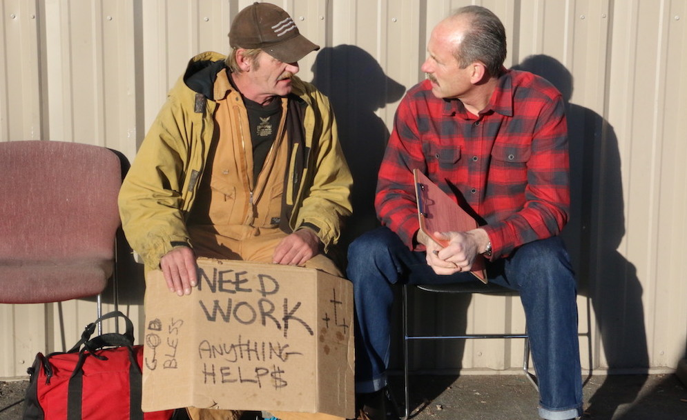Mayor Richard Berry meets a panhandler who he worked with for his There's A Better Way program.