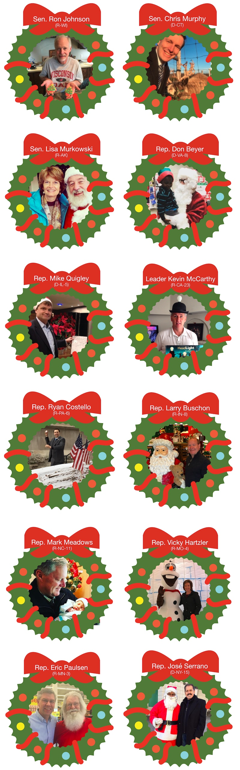 Quorum's gallery of congressional holiday photos.