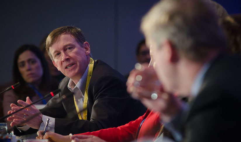 Colorado Governor John Hickenlooper speaks on a panel.